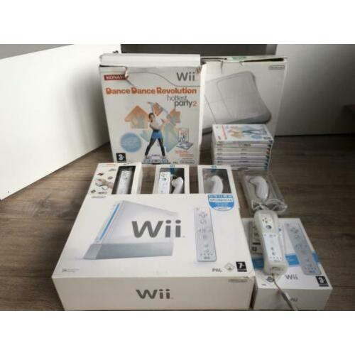 Complete set Wii met 3 controllers, balance board